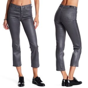 AG The Jodi Coated Gray High Rise Crop Flare Jeans
